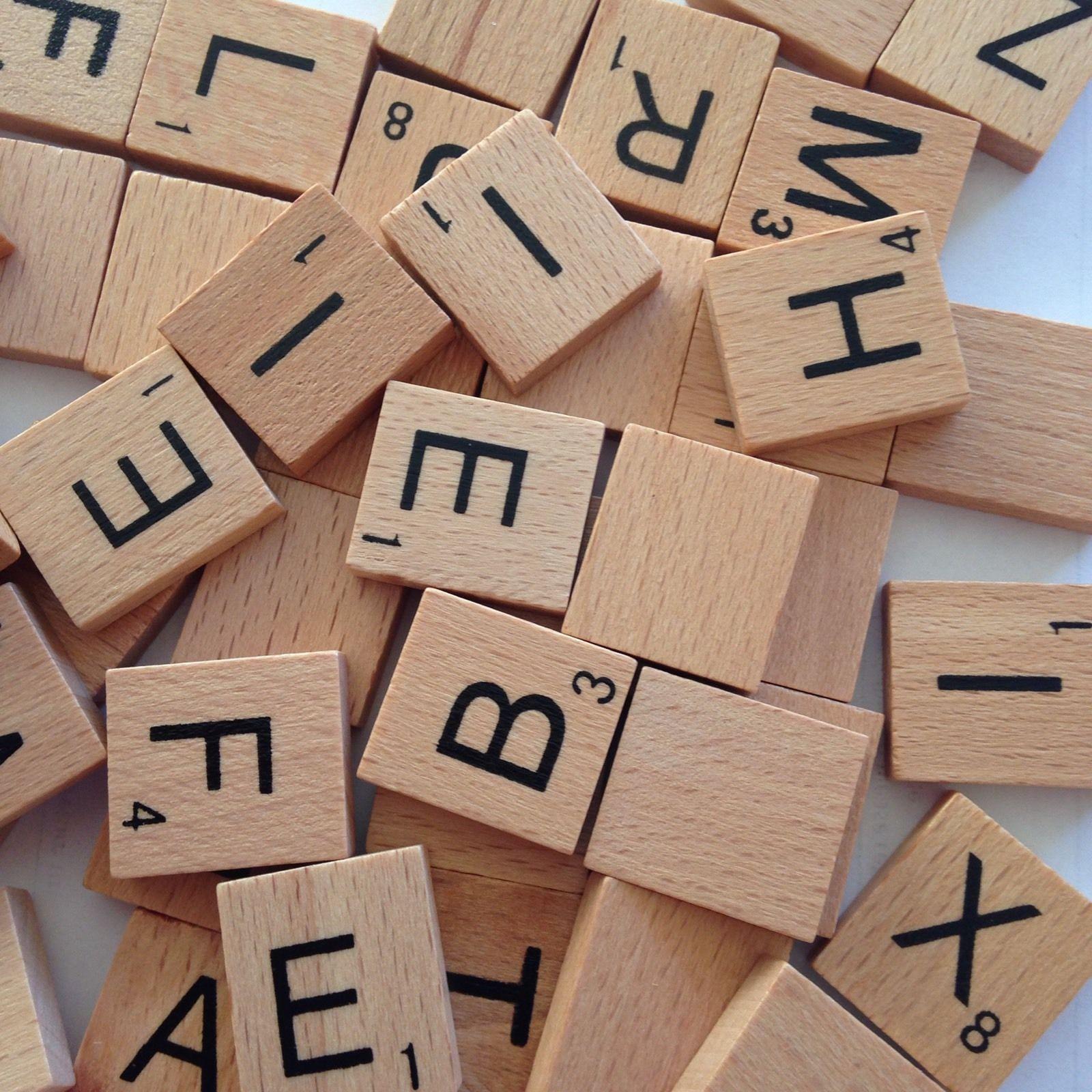 100 x Black Scrabble Tiles letters Tile Craft Complete wooden Set  High Quality